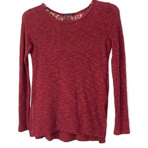 AEO lace back l/s top cranberry red top size small